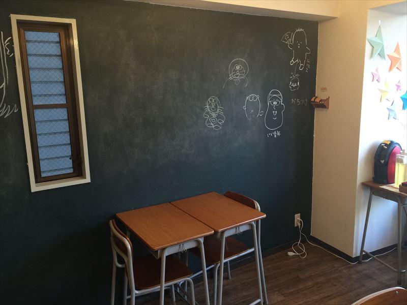 黒板に学校机のセットがノスタルジック